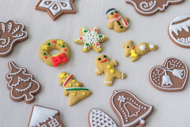 Top view of gingerbreads on light wooden table