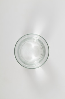 Top view of glass of water