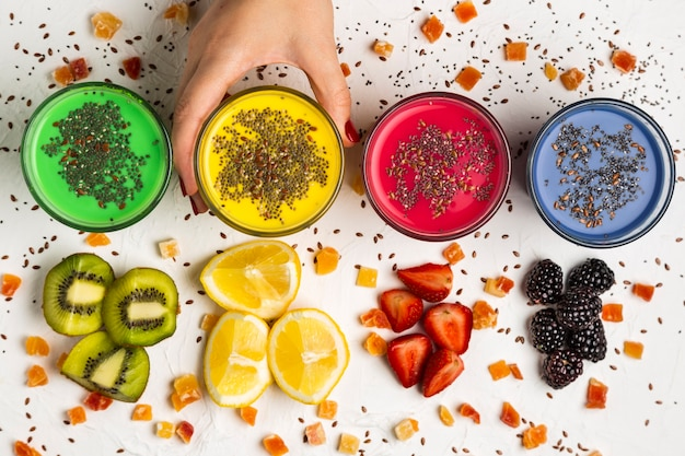 Top view glasses with colorful smoothies