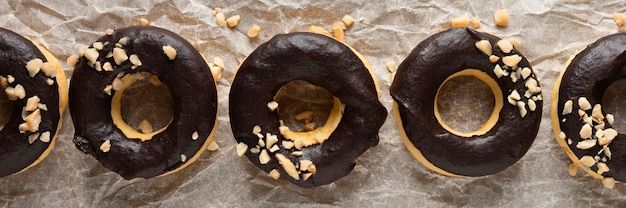Top view glazed donuts