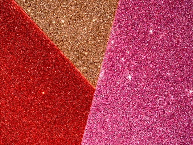 Top view of glitter background