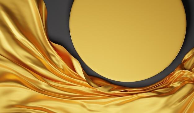 Подставка для изделий из золота, вид сверху, с золотой тканью. фон для демонстрации продукта, 3d рендеринг