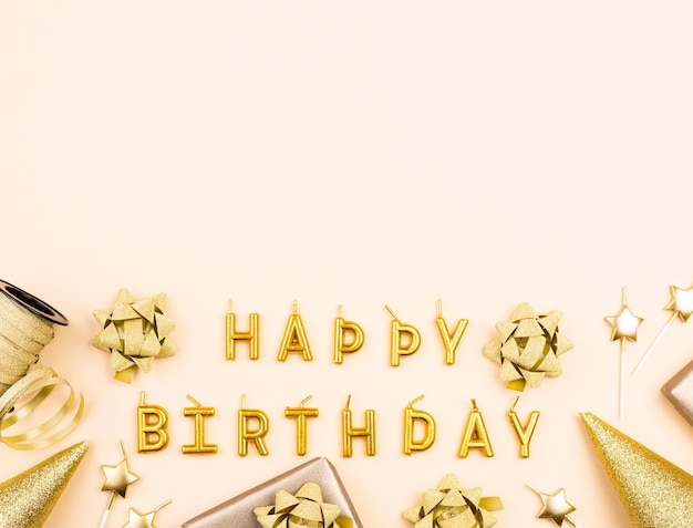 Top view golden birthday decorations frame