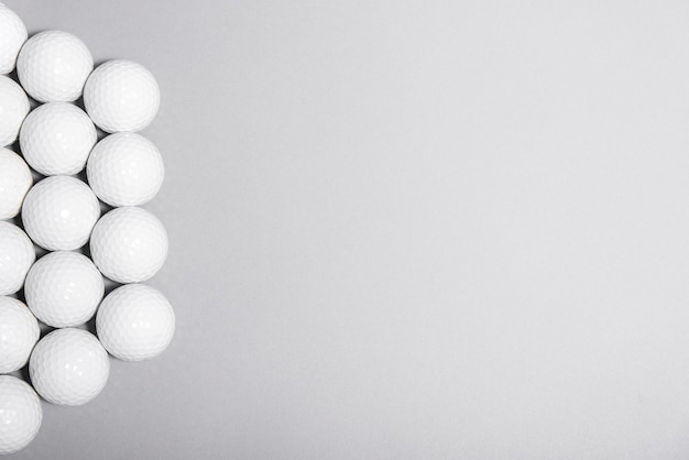 Top view golf balls with copy space
