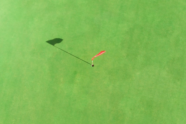 Top view of golf pole on the green in a golf course