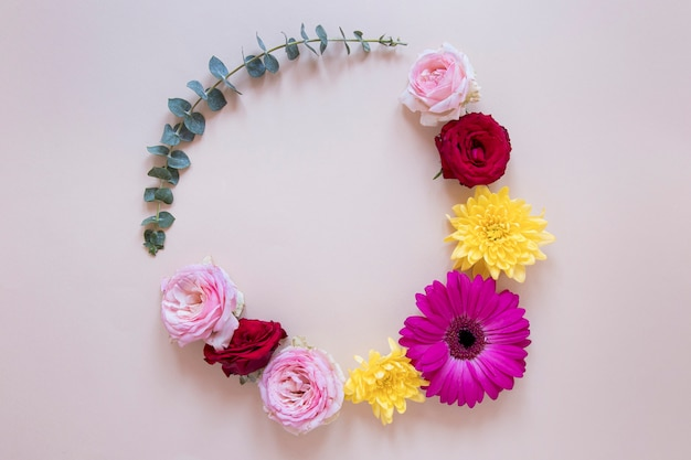 Top view of gorgeous flowers composition