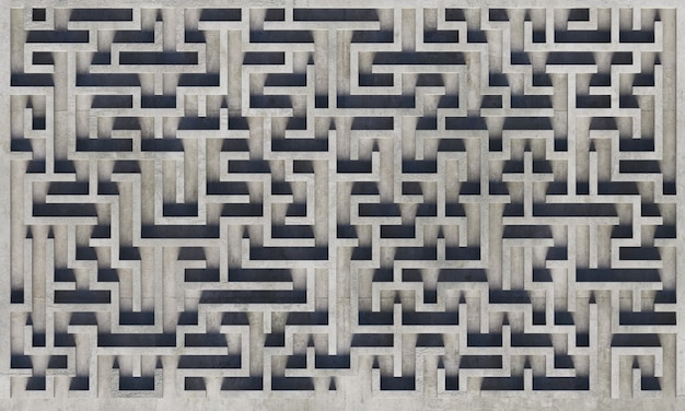 Top view of a gray concrete maze with soft shadows. 3d rendering