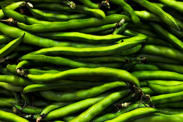 Top view green beans pile