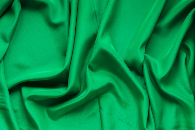 Top view of green fabric for carnival