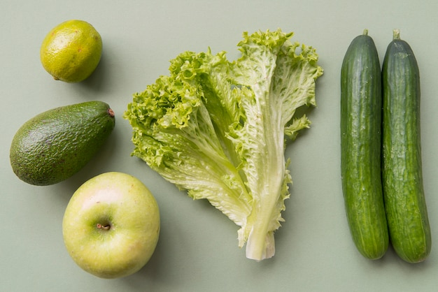 Top view green fruits and vegetables
