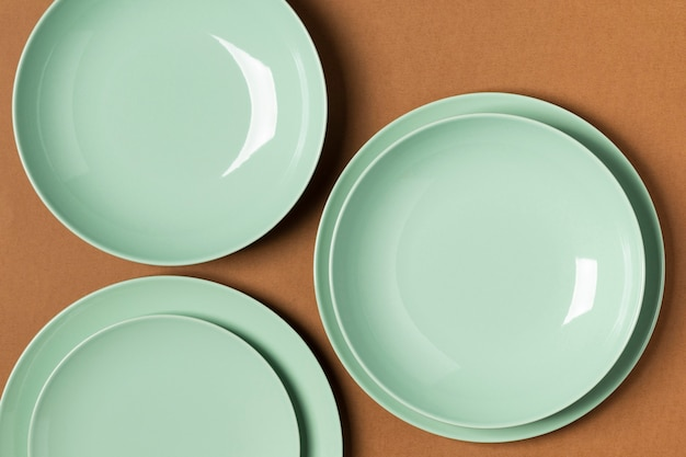 Top view green plates assortment