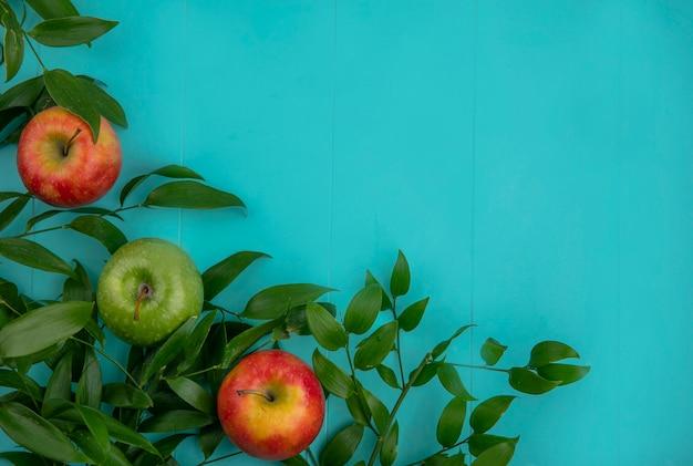 Vista dall'alto di mele verdi e rosse con foglie su una superficie azzurra