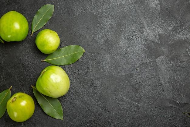 暗い表面の上面図の緑のトマトと月桂樹の葉