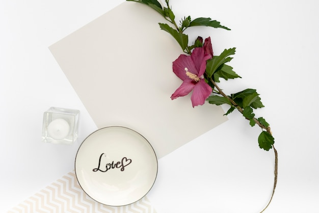 Top view greeting card with a plate