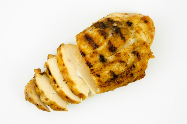 Top view of grilled chicken breast