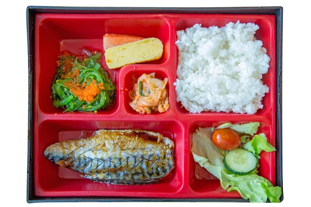 Top view of grilled saba bento set fresh food portion in japanese rice and seaweed, focus selective.