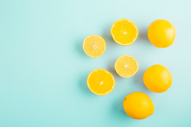 Top view group of lemons