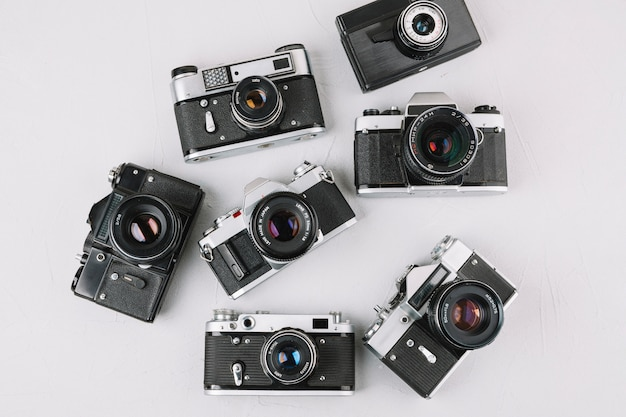 Top view group of professional cameras