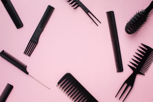 Top view of hair combs