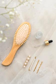 Vista dall'alto prodotti cosmetici per capelli
