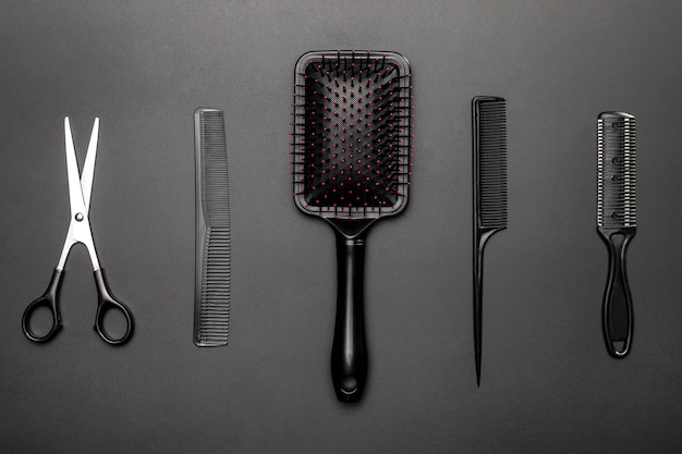 Top view of hairdressing tools