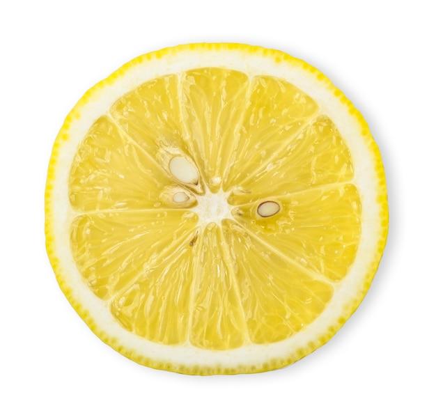 상위 뷰 절반 흰색 절연 레몬입니다. 레몬 클리핑 경로