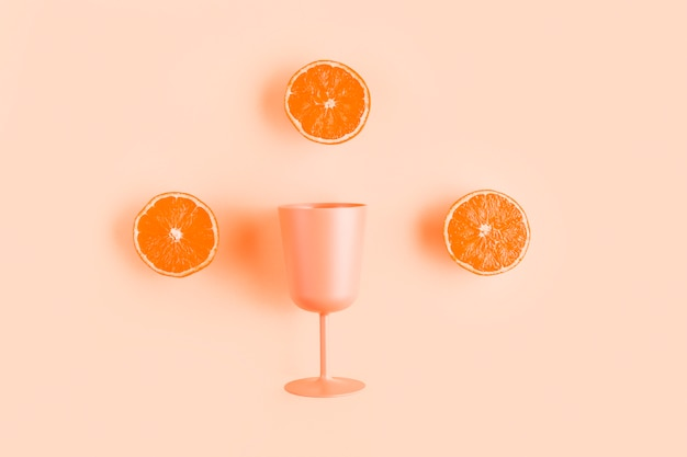 Top view half oranges with cup