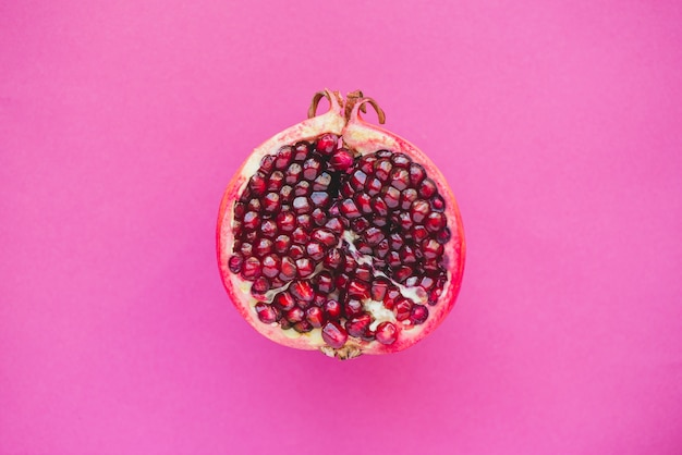 Top view of half pomegranate