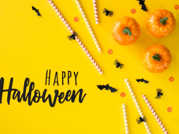 Top view halloween concept with greeting