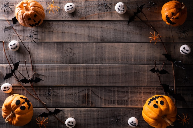 Top view of halloween crafts background with copy space for text.