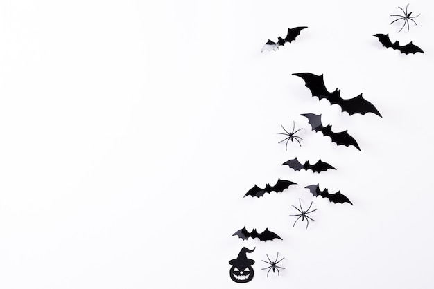 Top view of halloween crafts on white background, halloween .