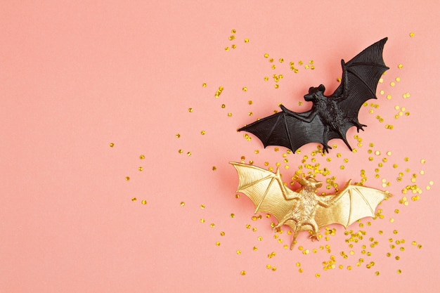 Top view of halloween decoration with plastic bats