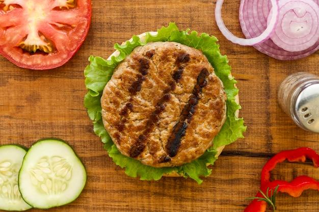Вид сверху ингредиенты для гамбургера