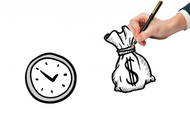 Top view of hand drawing a money bag next to a clock