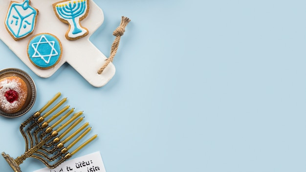 Top view of hanukkah concept with copy space