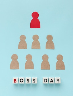 Top view of happy boss day concept
