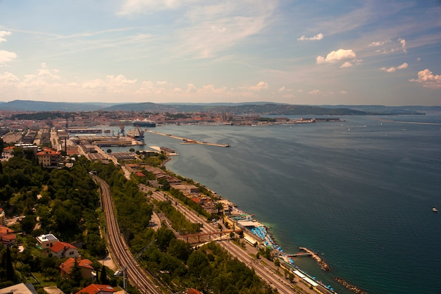 Top view of the harbor in trieste