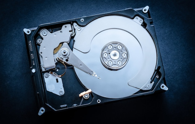 Top view of a hard disk drive