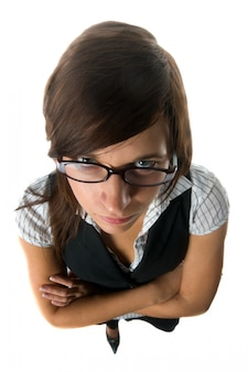 Top view of harsh businesswoman with glasses