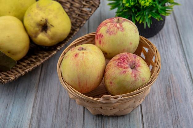 Vista dall'alto di mele sane su un secchio con mele cotogne su un vassoio di vimini su uno sfondo grigio