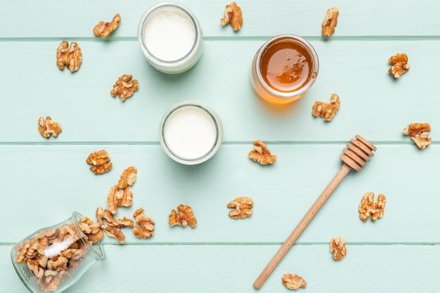 Top view healthy breakfast ingredients