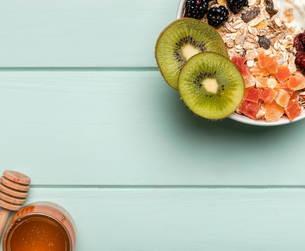 Top view healthy breakfast on table