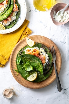 Top view of healthy breakfast with avocado, egg, lime, and mint leaf