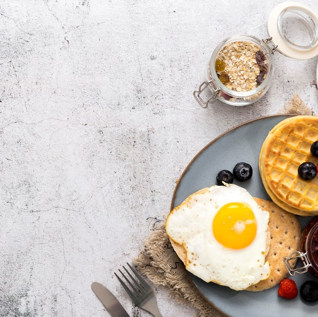 Top view healthy breakfast with copy space