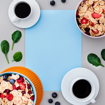 Top view of healthy breakfast with empty frame