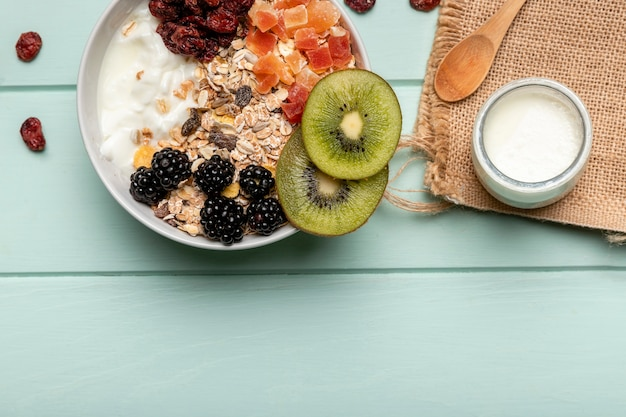Top view healthy breakfast with muesli