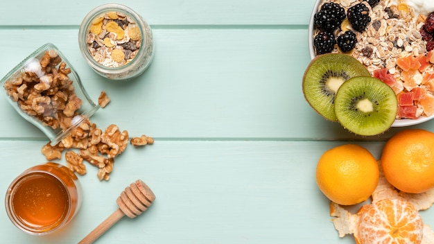 Top view healthy breakfast with muesli