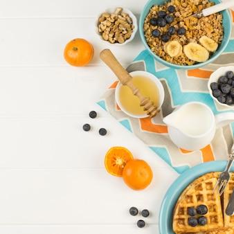 Top view healthy breakfast