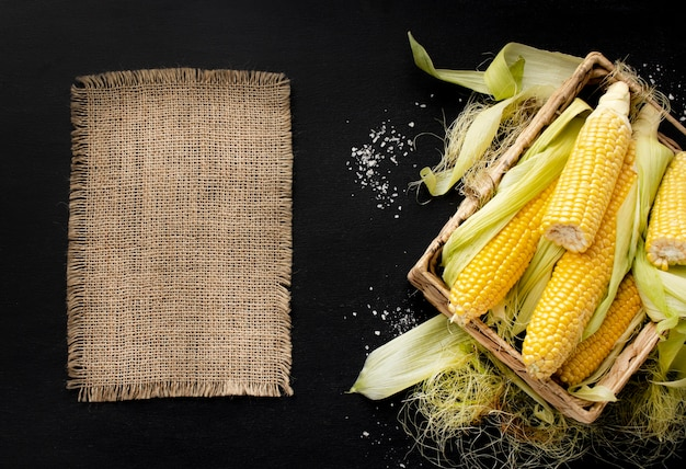 Top view healthy corn composition