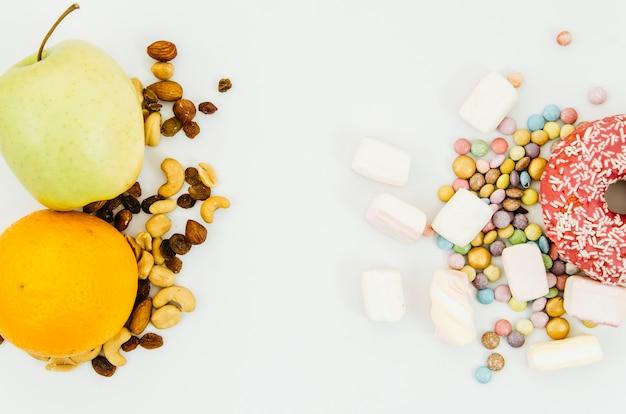 건강에 좋은 음식과 건강에 해로운 음식 무료 사진